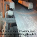 1-belt-misaligned-at-loading-zone-causing-muck-to-spill-on-return-belt-and-spillage
